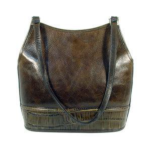 BRIGHTON Olive Leather Hobo Tote Shoulder Bag